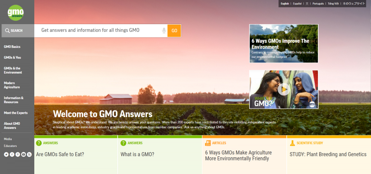 Gmos, biotechnology, internet, science, gmo answers